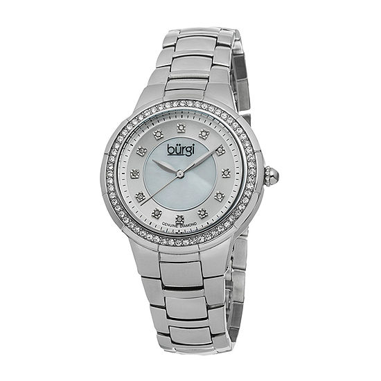 Burgi Womens Silver Tone Stainless Steel Strap Watch-B-093ss