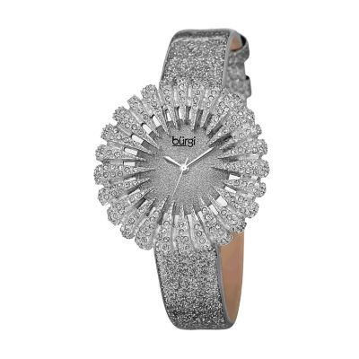 Burgi Womens Silver Tone Strap Watch-B-112gy