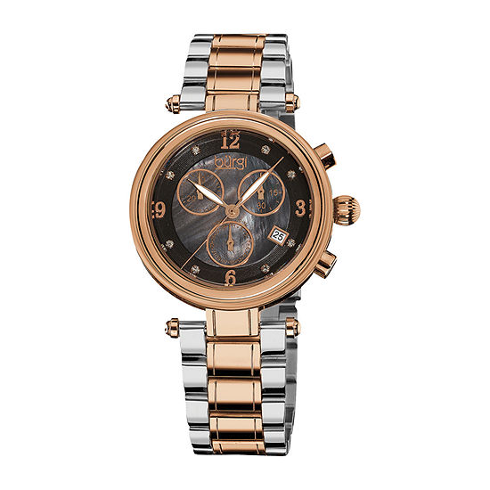 Burgi Womens Two Tone Stainless Steel Strap Watch-B-080rg
