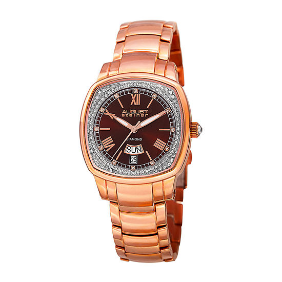 August Steiner Womens Rose Goldtone Strap Watch As 8193rgbr