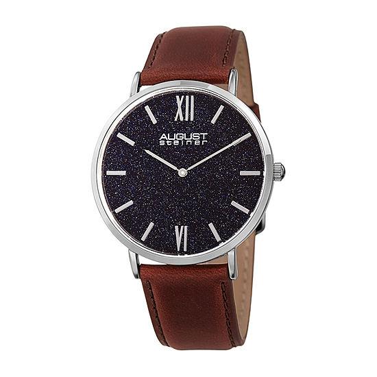 August Steiner Mens Brown Leather Strap Watch-As-8211ssbu