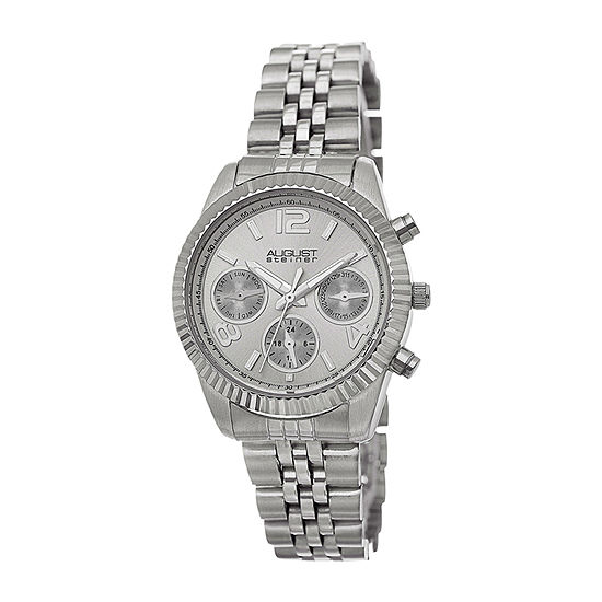 August Steiner Womens Silver Tone Stainless Steel Strap Watch-As-8103ss