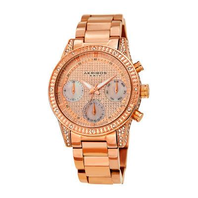 Akribos XXIV Womens Rose Goldtone Strap Watch-A-1038rg