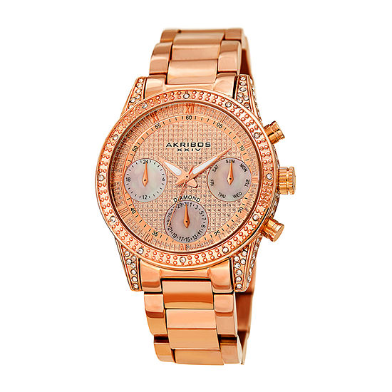 Akribos XXIV Womens Diamond Accent Rose Goldtone Stainless Steel Strap Watch-A-1038rg