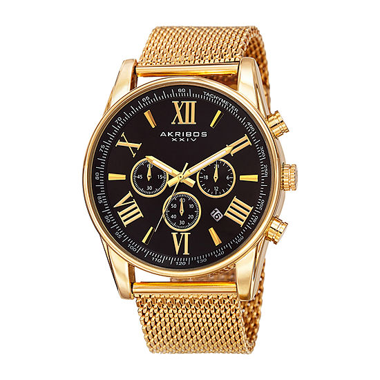 Akribos XXIV Mens Chronograph Gold Tone Stainless Steel Strap Watch-A-813ygb