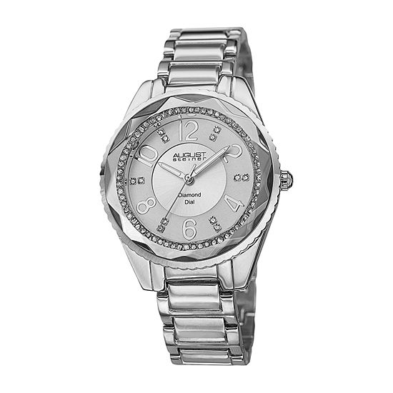 August Steiner Womens Diamond Accent Silver Tone Bracelet Watch-As-8122ss