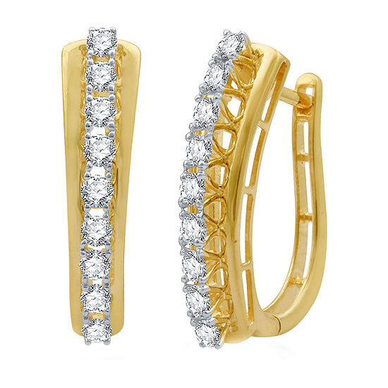 1 CT. T.W. Genuine Diamond 10K Gold Hoop Earrings