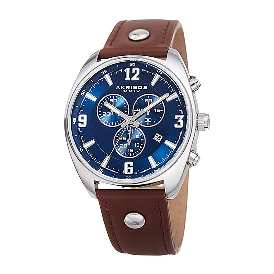 Akribos XXIV Mens Brown Strap Watch-A-969brbu