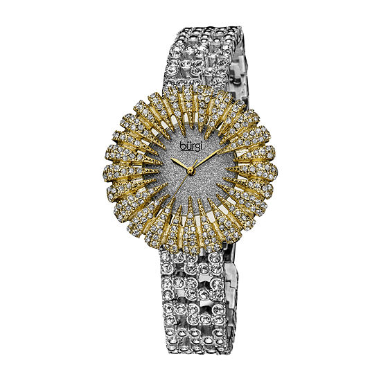 Burgi Womens Silver Tone Strap Watch-B-054yg