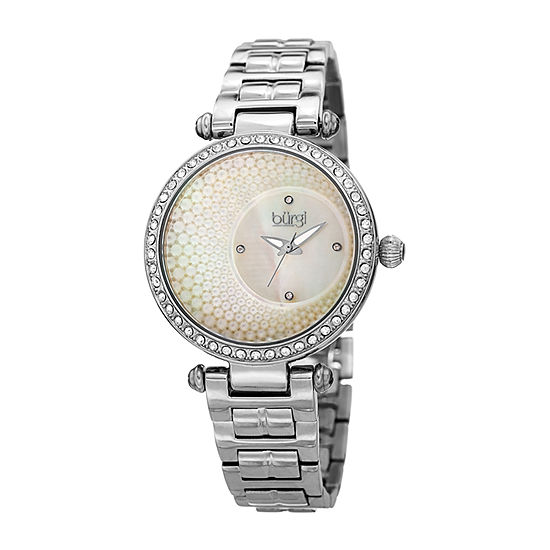 Burgi Womens Silver Tone Stainless Steel Strap Watch-B-183ss