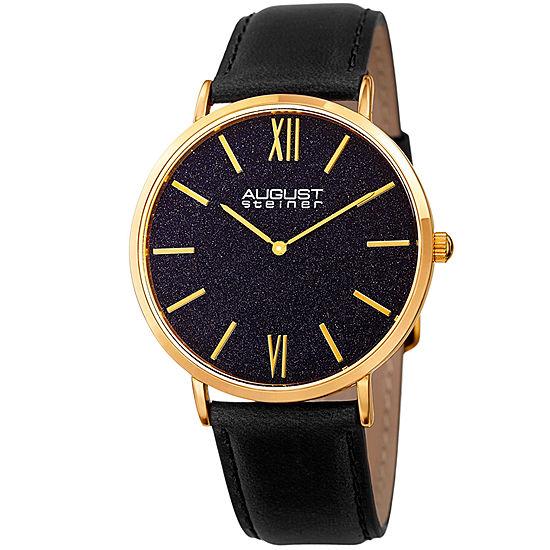 August Steiner Mens Black Leather Strap Watch-As-8211ygbu
