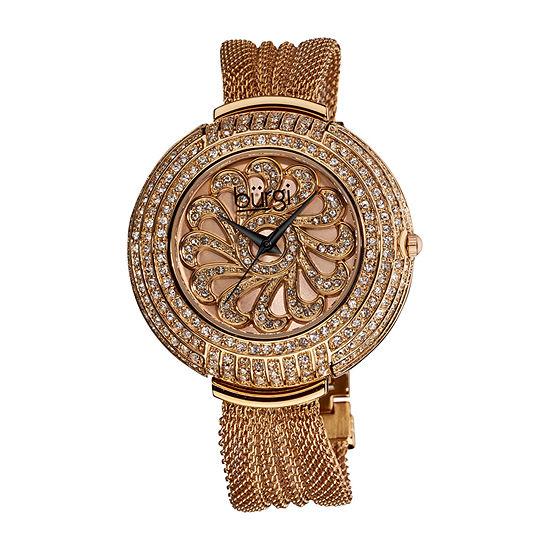 Burgi Womens Rose Goldtone Strap Watch-B-051rg