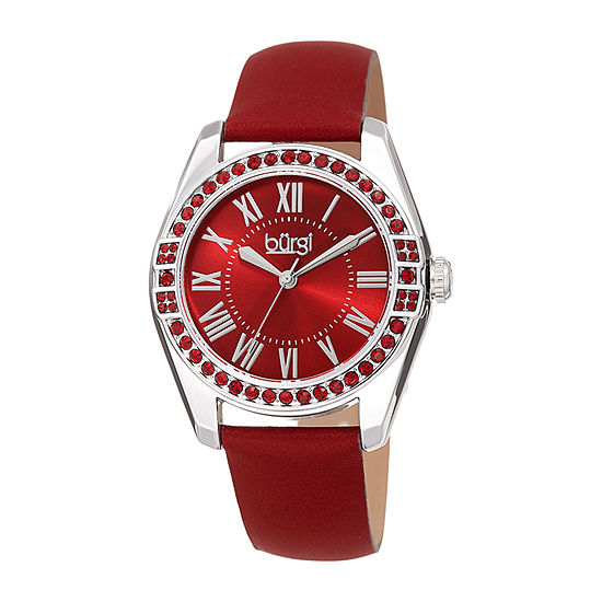 Burgi Set With Swarovski Crystals Womens Crystal Accent Red Leather Strap Watch-B-206rd