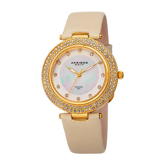 Akribos XXIV Womens Diamond Accent Gold Tone Leather Strap Watch-A-1008yg