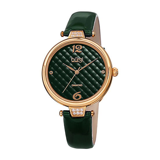 Burgi Womens Diamond Accent Green Leather Strap Watch-B-222gn