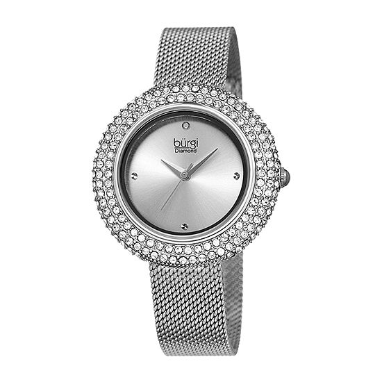 Burgi Set With Swarovski Crystals Womens Crystal Accent Silver Tone Stainless Steel Strap Watch-B-220ss