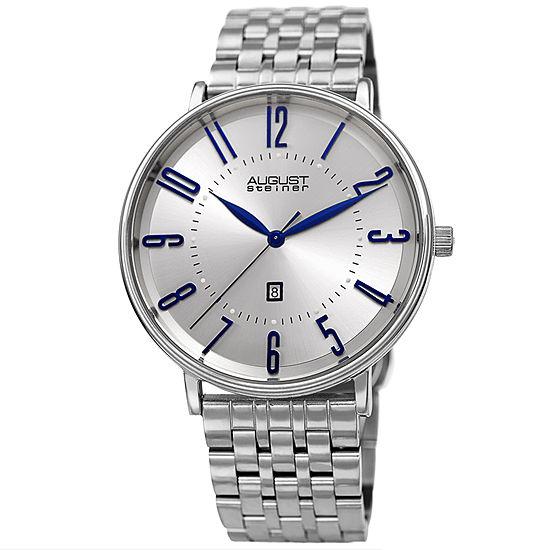 August Steiner Mens Silver Tone Bracelet Watch-As-8257ss