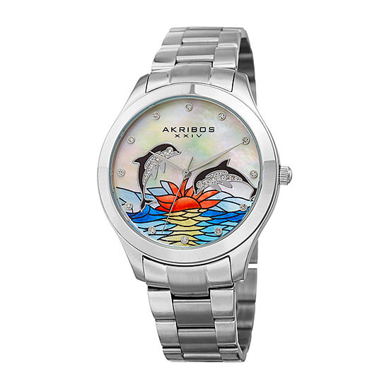 Akribos XXIV Set With Swarovski Crystals Womens Crystal Accent Silver Tone Stainless Steel Bracelet Watch-A-953dss