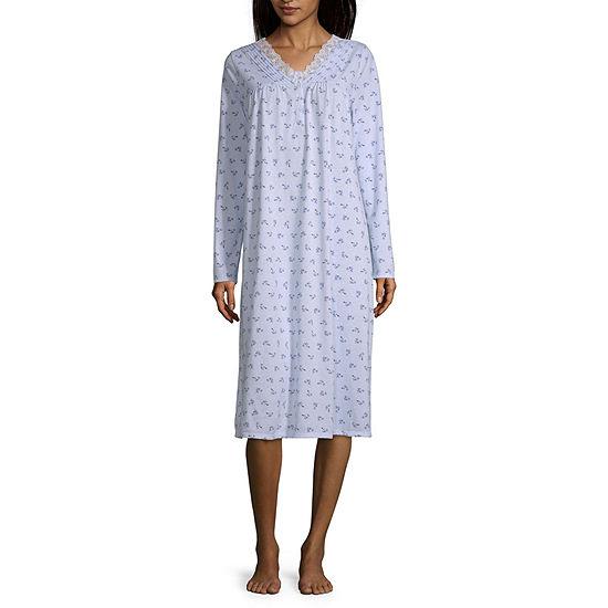 Adonna Womens V Neck Petite Long Sleeve Nightgown