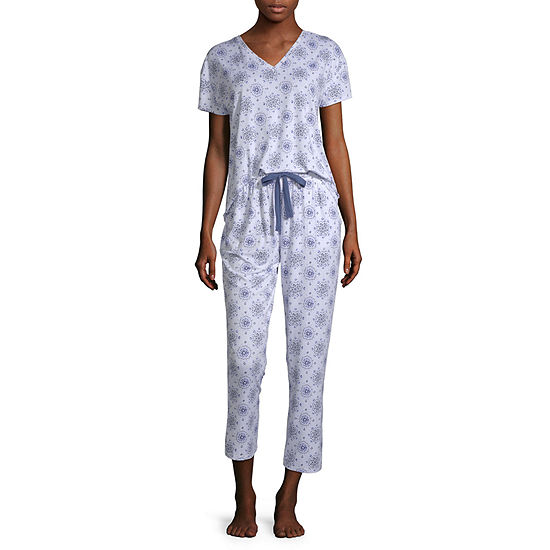 Jaclyn Womens Capri Pajama Set 2-pc. Short Sleeve V-Neck
