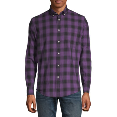 Arizona Mens Long Sleeve Plaid Button-Front Shirt