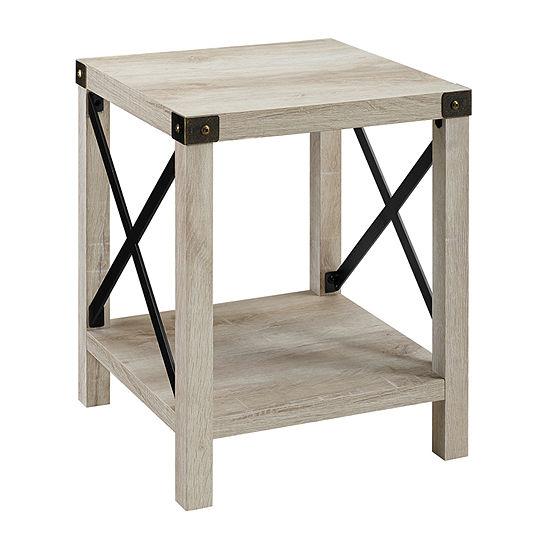 Farmhouse Rustic Wood Square Side Table