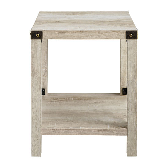 Farmhouse Rustic Wood Square Side Table