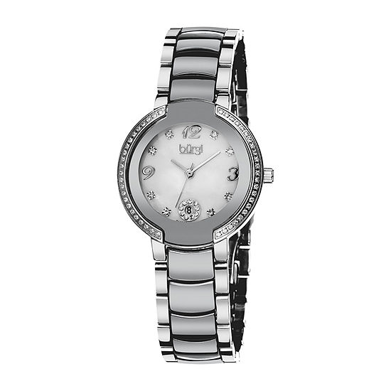 Burgi Womens Silver Tone Stainless Steel Strap Watch-B-072sl