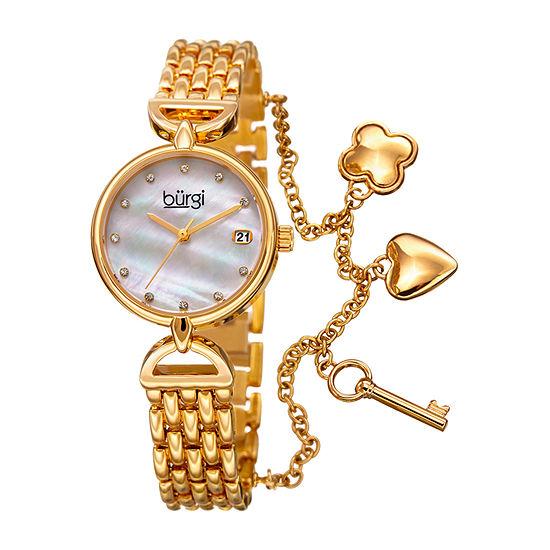 Burgi Womens Gold Tone Strap Watch B 172yg