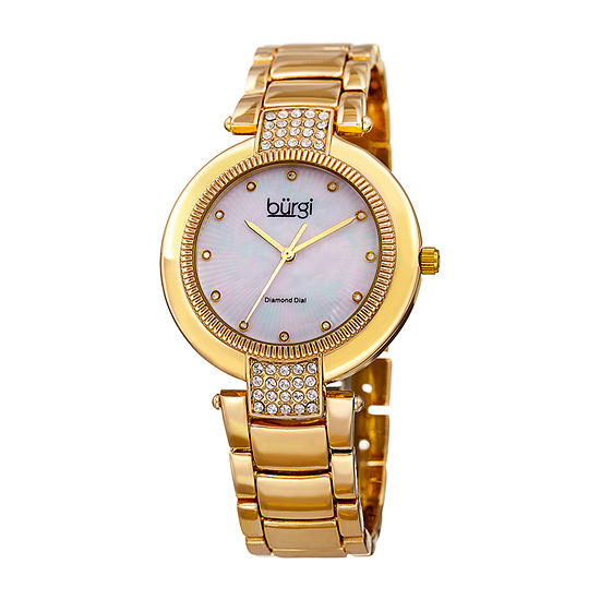 Burgi Womens Gold Tone Strap Watch B 181yg
