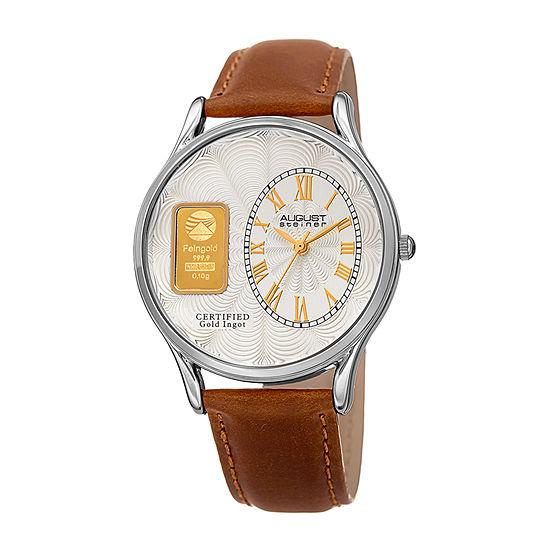 August Steiner Mens Brown Strap Watch-As-8224ss