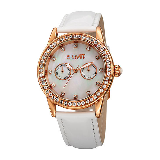 August Steiner Set With Swarovski Crystals Womens White Leather Strap Watch-As-8234wt
