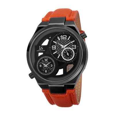 Joshua & Sons Mens Orange Strap Watch-J-83tn