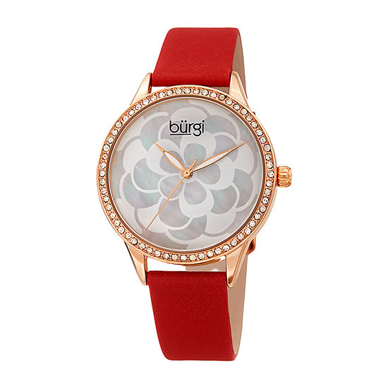 Burgi Set With Swarovski Crystals Womens Crystal Accent Red Leather Strap Watch-B-203rdr