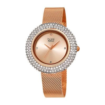 Burgi Womens Rose Goldtone Strap Watch-B-220rg