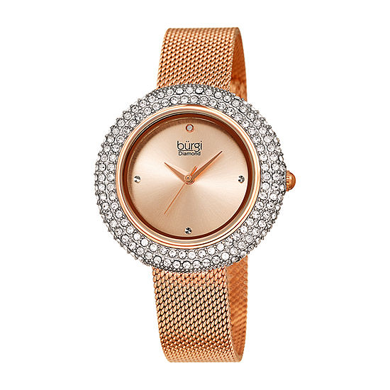Burgi Set With Swarovski Crystals Womens Crystal Accent Rose Goldtone Stainless Steel Strap Watch-B-220rg