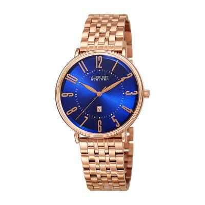 August Steiner Mens Rose Goldtone Bracelet Watch-As-8257rgbu