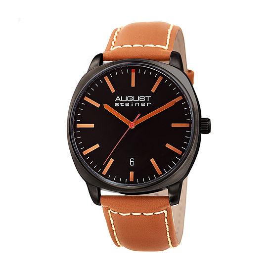 August Steiner Mens Brown Leather Strap Watch-As-8245bkbr