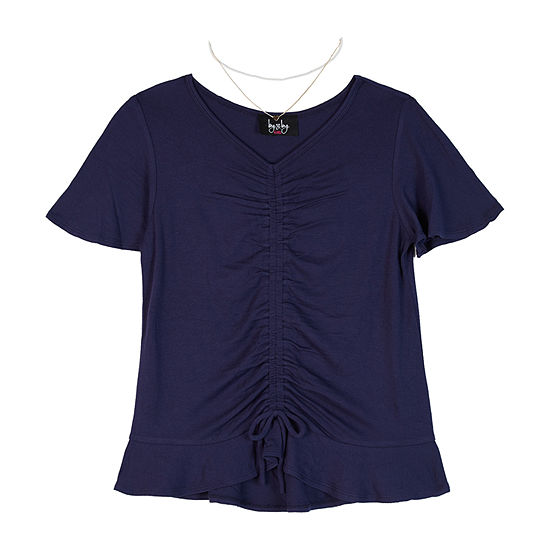 by&by girl Girls V Neck Short Sleeve Blouse Big Kid