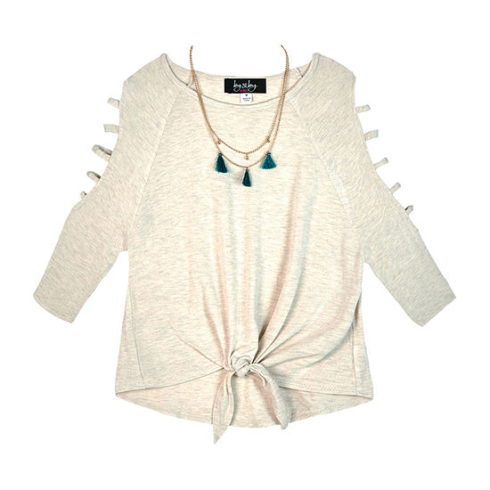 by&by girl Girls Scoop Neck 3/4 Sleeve Blouse Big Kid