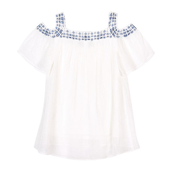 by&by girl Girls Square Neck Short Sleeve Blouse Big Kid
