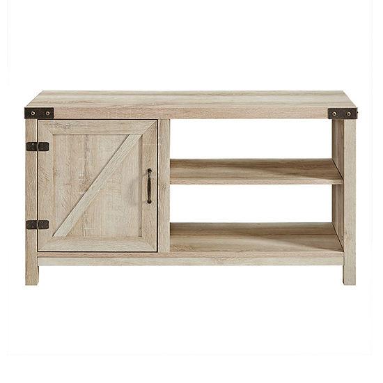Farmhouse 1-Door Open Shelf TV Stand