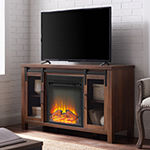 Rustic Sliding Door Fireplace TV Stand