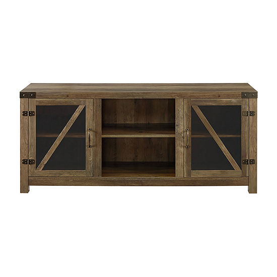Farmhouse Glass Door Accented TV Stand