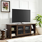 Modern Glass Door Open Shelf TV Console