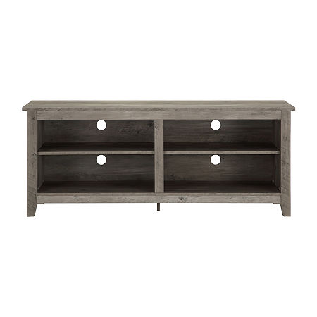Rustic Open Shelf Simple Wood TV Stand