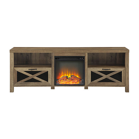 Rustic Fireplace TV Stand