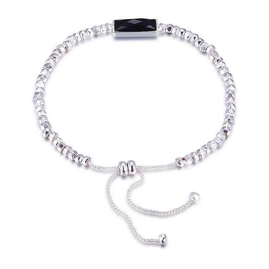 Footnotes Black Onyx Silver Tone Rectangular Bolo Bracelet