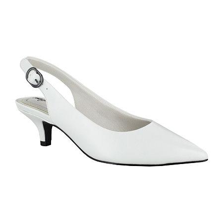 1960s Style Clothing & 60s Fashion Easy Street Womens Faye Pumps Kitten Heel 8 Medium White $43.99 AT vintagedancer.com