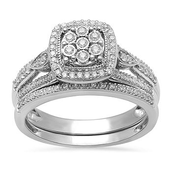 Surrounded By Love Womens 1 3 Ct T W Genuine White Diamond Sterling Silver Engagement Ring Jcpenney